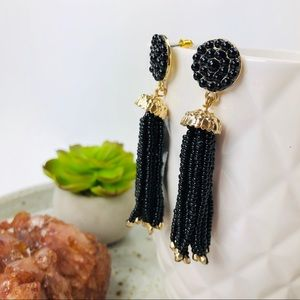 Marilyn Black Beaded and Golden Dangle Earrings